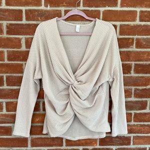 CY beige front wrap knit waffle knit sweater